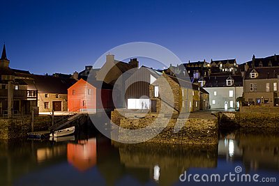 Stromness harbour at night