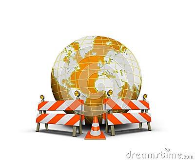 Strona internetowa w budowie z kulą ziemską i barierą