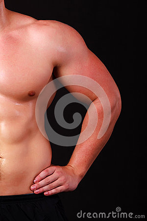 Strong arm of a male athlete