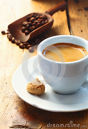 Strong aromatic espresso coffee