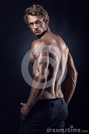 Free Strong Athletic Man Fitness Model Posing Back Muscles Stock Photo - 79600830