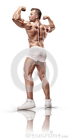 Free Strong Athletic Man Fitness Model Posing Back Muscles, Triceps, Stock Images - 83454844