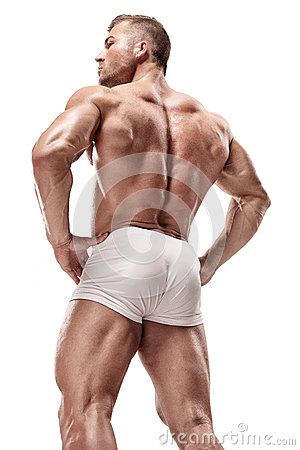 Free Strong Athletic Man Fitness Model Posing Back Muscles, Triceps, Royalty Free Stock Photo - 83455115