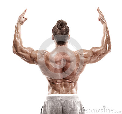 Free Strong Athletic Man Fitness Model Posing Back Muscles, Triceps, Stock Images - 84135014