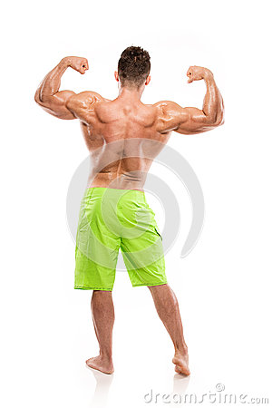 Free Strong Athletic Man Fitness Model Torso Showing Big Back Muscles Royalty Free Stock Photos - 60606008