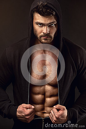 Free Strong Athletic Man Fitness Model Torso Showing Big Muscles Stock Photography - 60353882