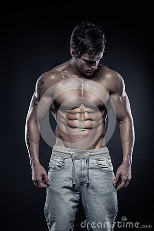 Free Strong Athletic Man Fitness Model Torso Showing Six Pack Abs. Royalty Free Stock Photos - 39530928