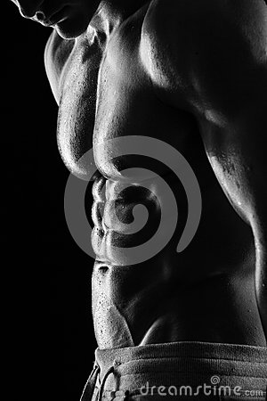 Free Strong Athletic Man Fitness Model Torso Showing Six Pack Abs. Stock Image - 39531161
