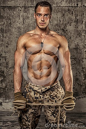 Free Strong Athletic Man With Naked Body In Military Pants Royalty Free Stock Photos - 107830738