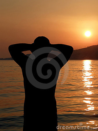 Strong attractive, man at sunset