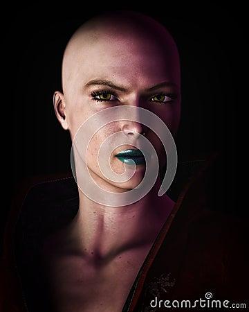 Strong Bald Futuristic Sci-Fi Woman Portrait
