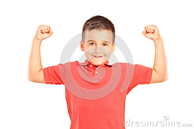 Strong boy showing muscles