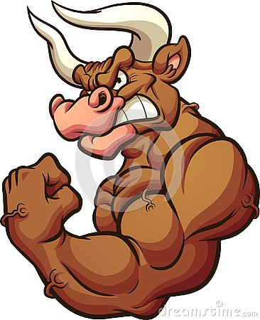 Strong brown bull mascot flexing arm Vector Illustration