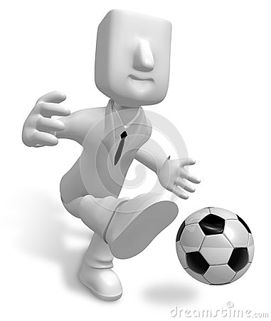 Strong business man kicking a soccer ball