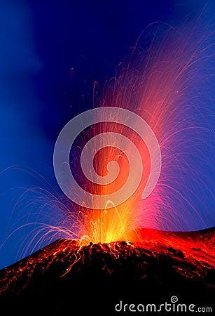 Strong eruption volcano Stromboli erupting