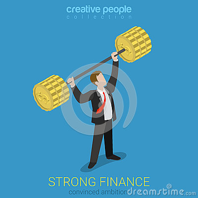Free Strong Finance Position Businessman Power Flat Isometric Vector Royalty Free Stock Photos - 66195838