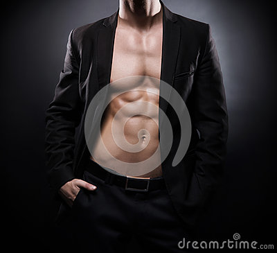 Free Strong, Fit And Sporty Stripper Man Over Black Background Stock Images - 61497954