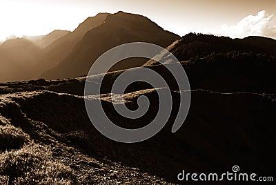 Strong light high mountain landscape