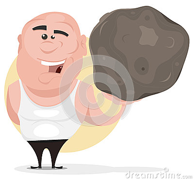 Strong Man Holding Big Boulder