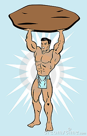 Strong man lifting rock
