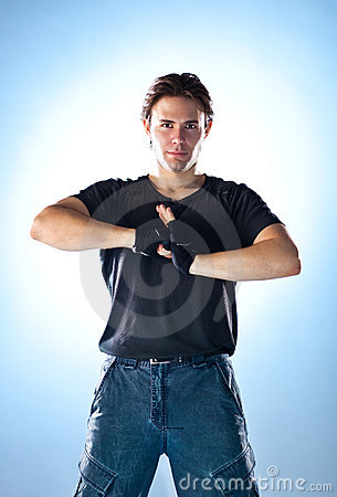 Strong man ready to fight
