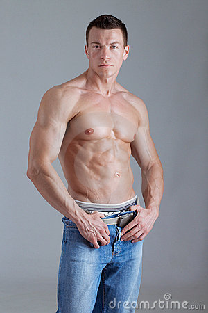 Strong Man With Relief Body Royalty Free Stock Photo