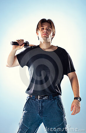 Strong man with samurai sword