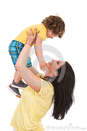 Free Strong Mother Raise Up Her Son Royalty Free Stock Images - 53224429