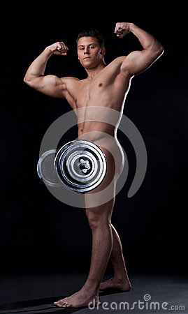 Strong Naked Man Posing Lifting Barbell Stock Photo (Edit