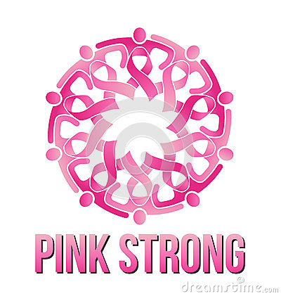Pink Ribbon circle people Logo