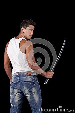 Strong warrior with ninja swords