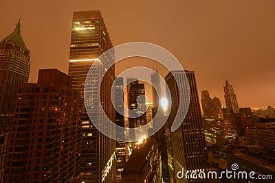 Stroomuitval de van de binnenstad van Manhattan toe te schrijven aan Zandig Redactionele Foto