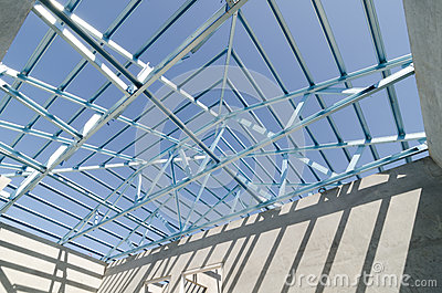 Structure of steel roof. Editorial Stock Photo