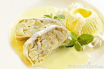 Strudel with ice-cream