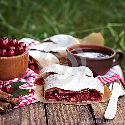 Free Strudel With A Cherry. Cherry Pie. Royalty Free Stock Photography - 104467217