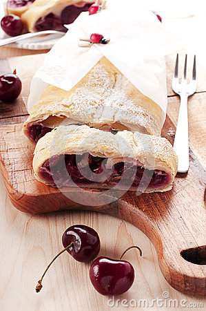 Free Strudel With Cherry Stock Photography - 25237452