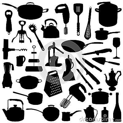 insieme delle siluette dello strumento della cucina