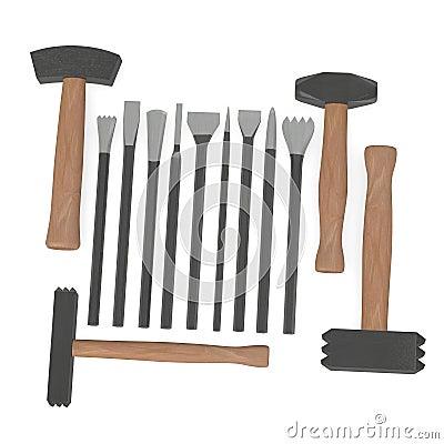 Strumento per il lavoro in pietra con 4 martelli