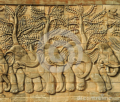 Stucco carved wall depicting 5 elephants