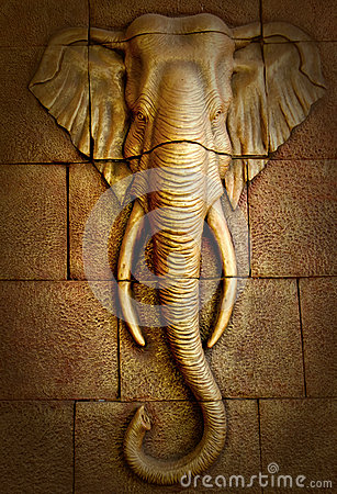 Free Stucco Carved Wall Depicting Elephant Royalty Free Stock Images - 41065219