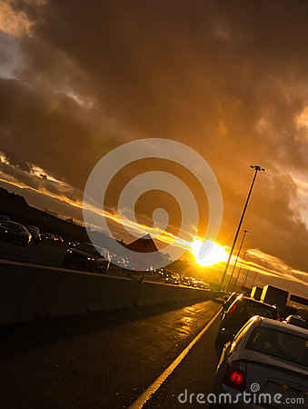 Free Stuck In Sunset Traffic On Way Home Stock Image - 27542481