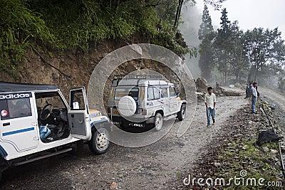Stucked jeeps beacuse of landslide Editorial Photo