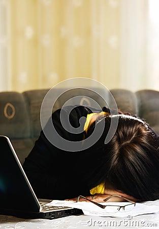 Student asleep at computer