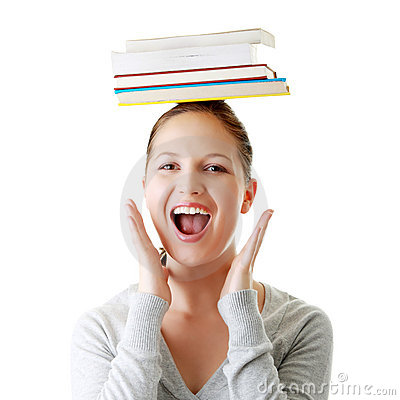 Student with books on her head