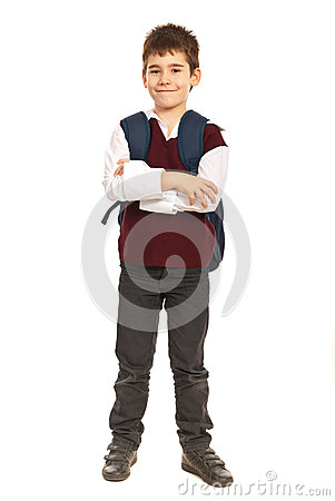 Student boy with arms folded