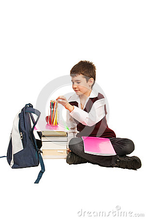 Student boy  prepare for homework