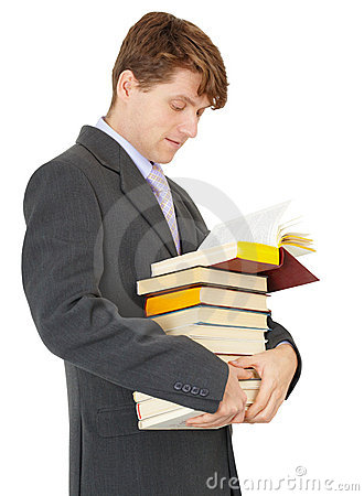 Student with bunch of books