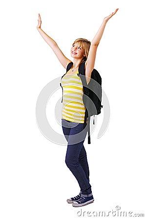 Student celebrating