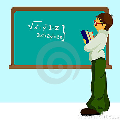 Student with chalkboard