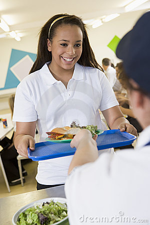 A Student Collecting Lunch From The School Royalty Free Stock Images - Image: 7035829